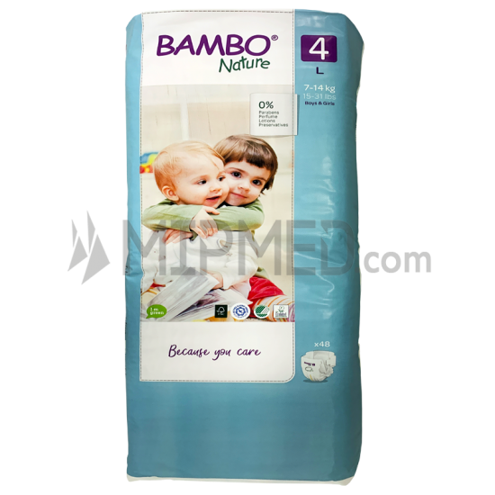 Diapers Bambo Nature - Size 4 -Maxi - 48 units