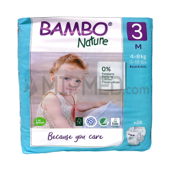 Diapers Bambo Nature - Size 3 -Midi - 28 units