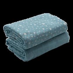 Cotton Blanket Mousseline - Pack Steel