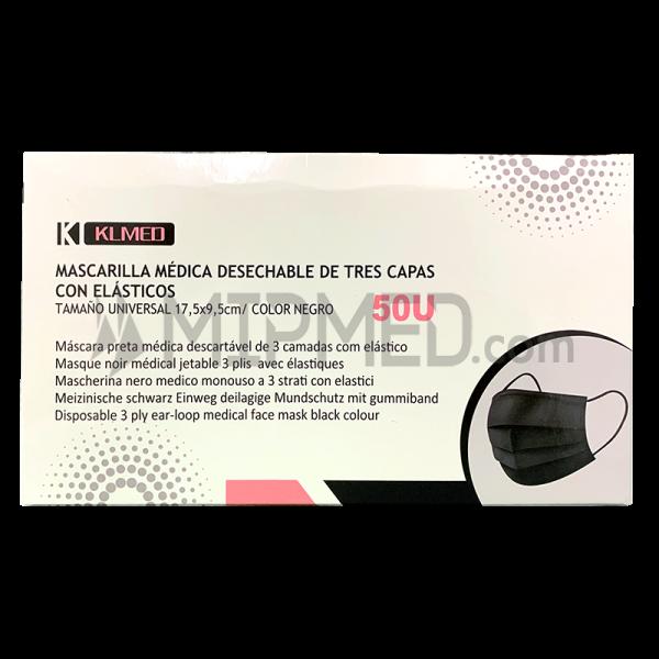 Triple Layer Surgical Masks - >95% - Black - 50 units