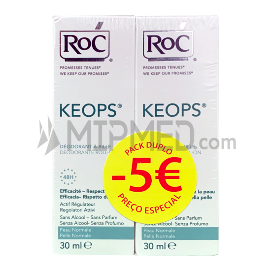 ROC KEOPS Roll-On Deodorant - Double Pack - 30ml