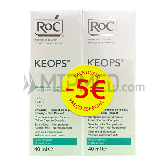 ROC KEOPS Stick Deodorant - Double Pack - 40ml