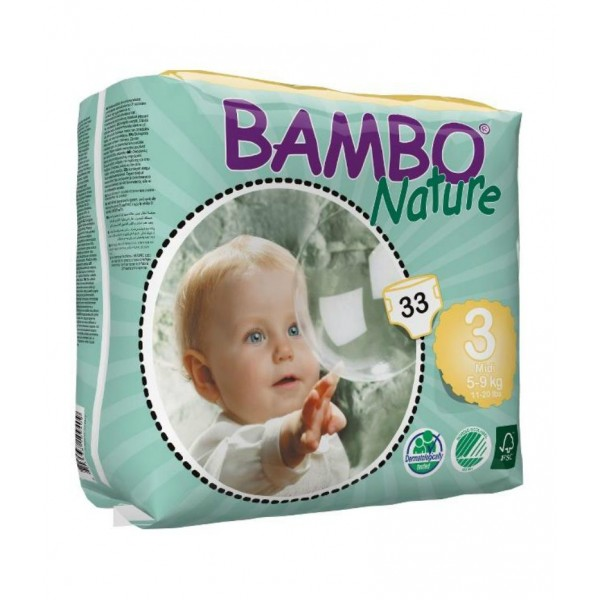 Diapers Bambo Nature - Size 3 -Midi - 33 units