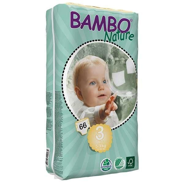 Diapers Bambo Nature - Size 3 -Midi - 66 units