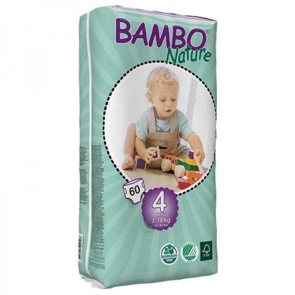Diapers Bambo Nature - Size 4 -Maxi - 60 units