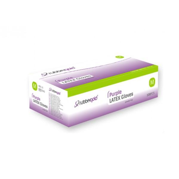Latex Gloves - Purple - Powder-Free - 100 units