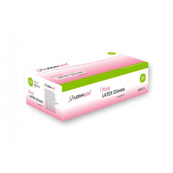 Latex Gloves - Pink - Powder-Free - 100 units